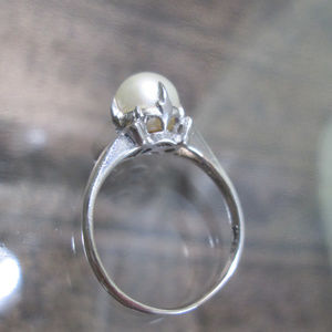 Victorian Pearl Solitaire Ring Natural Pearl  6.5